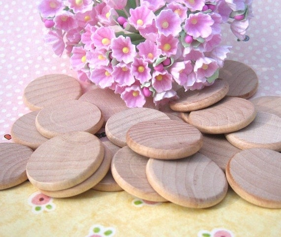 Unfinished Wooden Circles 1 inch a package of 25 perfect for magnets and pendant