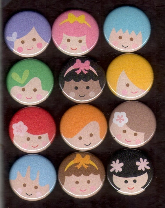 Little Girl Smiley Faces Kawaii flat back, pin back or hollow buttons set of 12