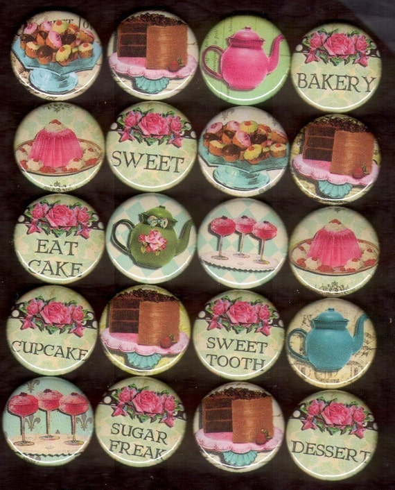 20 1 inch flat back or pinback buttons cabochons SWEET TOOTH
