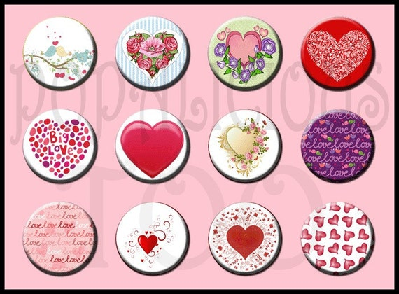 Valentine Day Hearts Flat Back Buttons, Pin Back Buttons or Hollow Your choice set of 12