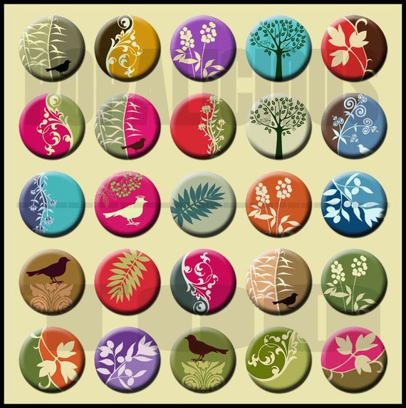 Colorful Trees and Birds Flat Back Buttons or Pin Back Buttons or Hollow your choice set of 25