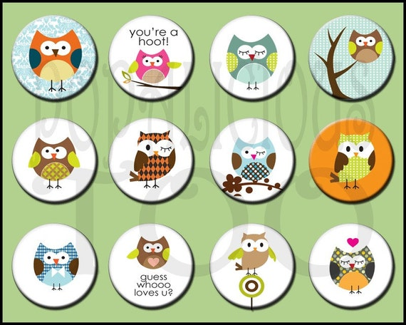 Owls flat back, pin back or hollow buttons