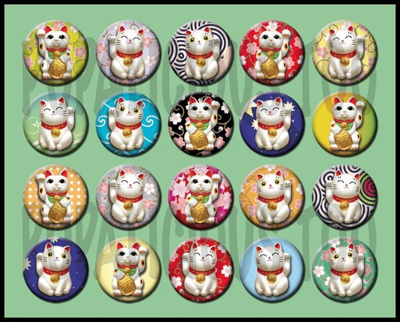 20 Good Luck Cat Flat back Buttons or Pin Back Buttons or Hollow Your choice