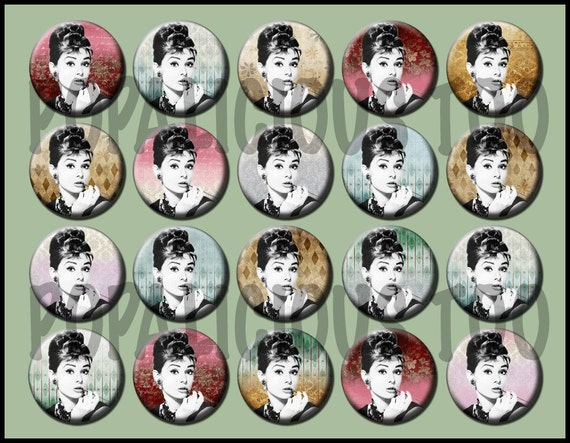 Audrey Hepburn flat back buttons, pin back buttons or hollow buttons set of 20