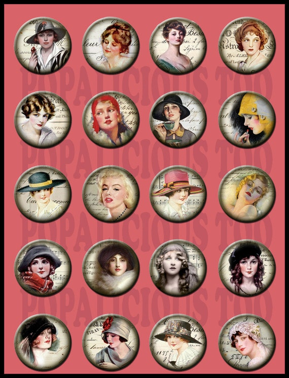 20 Vintage Beauties Flat back buttons cabochon or pin back