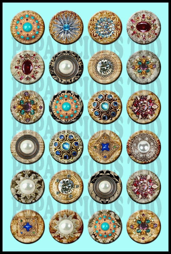 24 Vintage style Brooch Collection of Flat back, pin back or hollow Buttons