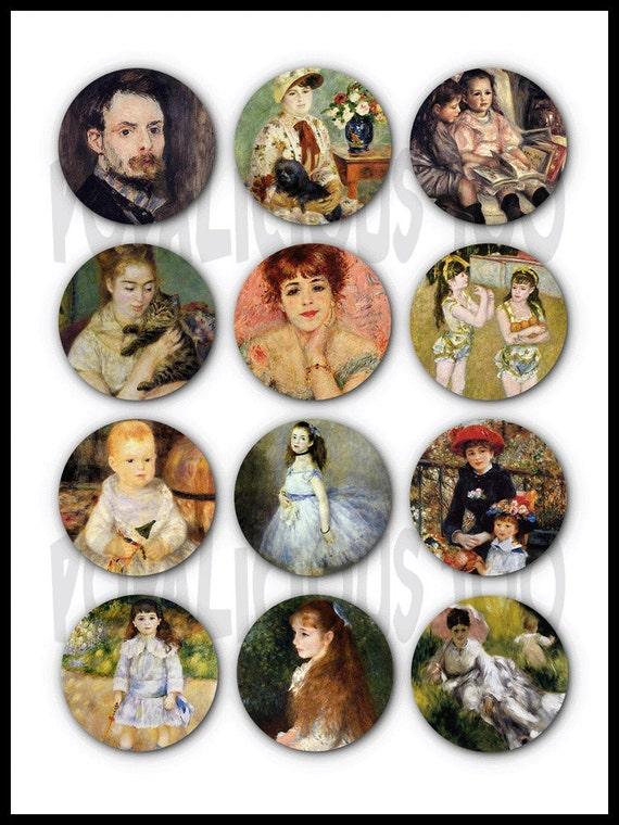 12 Antique Vintage The art of Renoir flat back buttons
