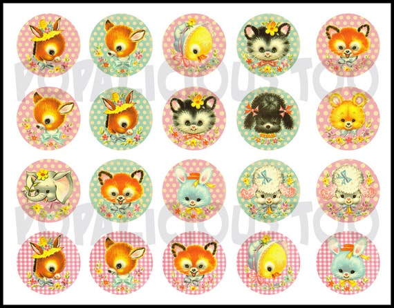 Shabby Chic Animals Flat back buttons or Pin back buttons Set of 24