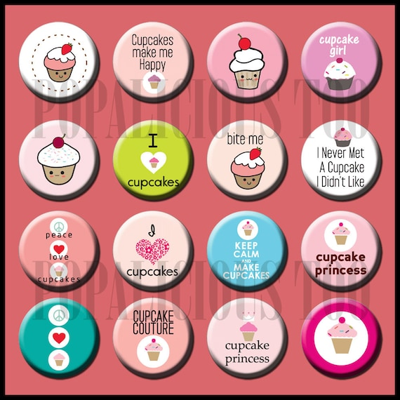 Cupcake Make me Happy Flat Back Buttons Pin back buttons and hollow cabochons set of 16