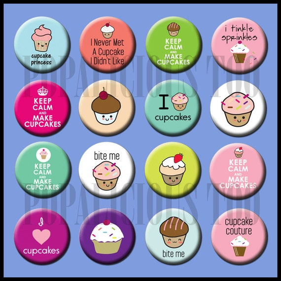 Cupcake Make me Happy Flat Back Buttons Pin back buttons and hollow cabochons set of 16 part 2