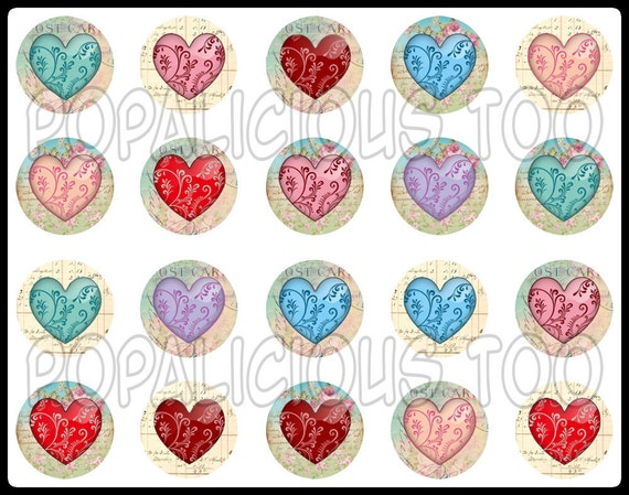 20 Shabby Chic Hearts Flat Back Buttons, Pin Back Buttons or Hollow