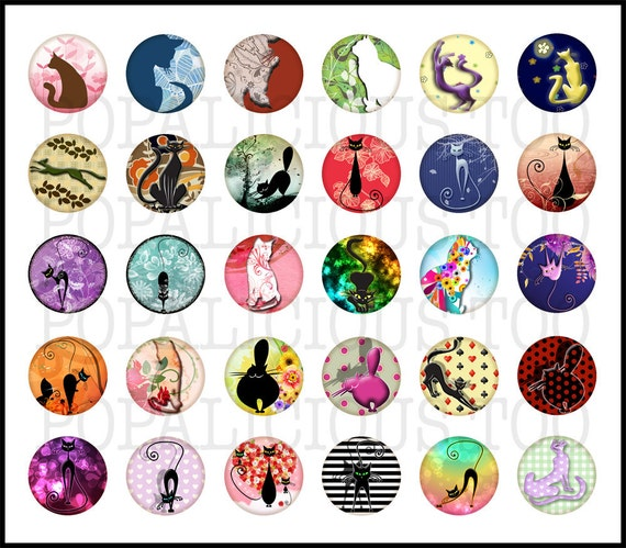 Modern Art Cat Style 1 inch flat back buttons, pin back buttons or hollow, cabochons