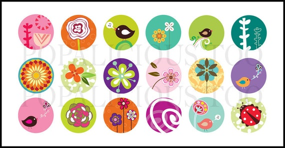 18 Spring Time Flowers 1 inch Flat back buttons