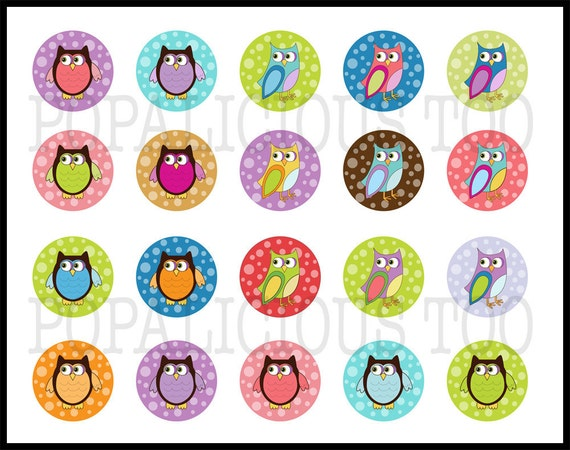 20 Fun Spring Time Owls flat back buttons, pin back buttons or hollow your choice