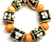 Orange Blossom-11 Handmade Lampwork Beads