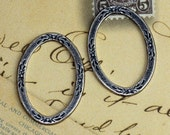 2 Oval Silver Frame Findings 1284