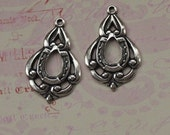 2 Silver Scalloped Drop Charms 1689
