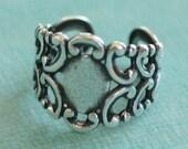 Adjustable Silver Filigree Ring Finding 2078