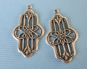 2 Silver Drop Charms 2836