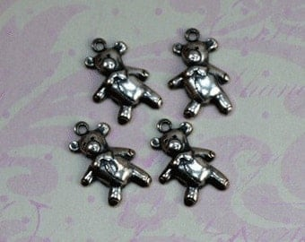 4 Silver Teddy Bear Charms 1492