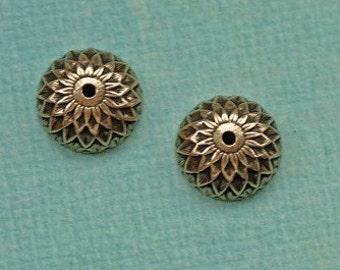 2 Antique Brass Acorn Bead Caps 1835