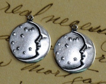 2 Silver Crescent Moon and Stars Charms 1404
