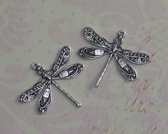 2 Silver Dragonfly Charms 1417S