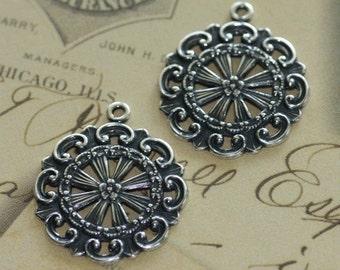 2  Silver Decorative Filigree Charms 1595