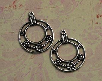 2 Silver Daisy Hoop Drop Findings 1614