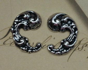 2 Silver Ornate Scroll Findings 1584