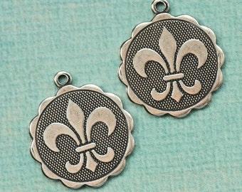 2 Silver Large Fleur de Lis Charms 1730