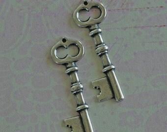 2 Silver Key Charms 2087