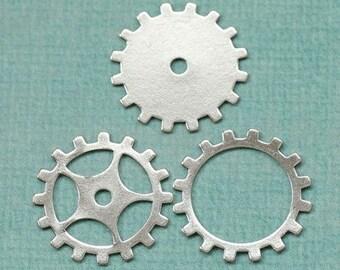 3 19mm Silver Steampunk Gears 1759