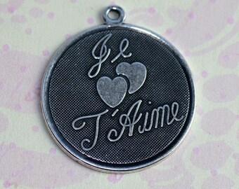 Large Silver Je T'Aime Charm 1251L