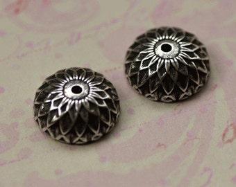 2 Silver Acorn Bead Caps 1706