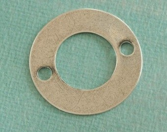SALE  Large Silver Washer Finding with 2 Holes 2409