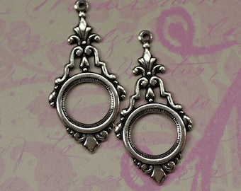 2 Silver Open Drop Charms 1682