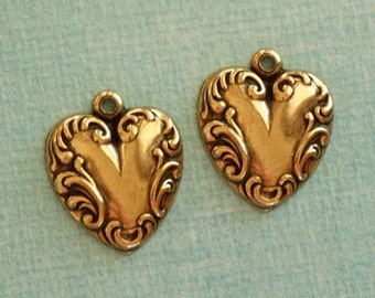 2 Antique Brass  Heart Charms 2448