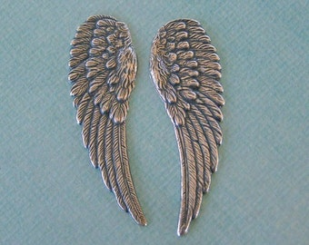Large Silver Angel Wing Findings 1052L