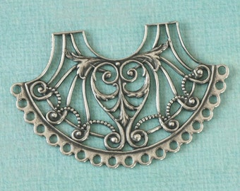 Large Silver Filigree Finding 2567
