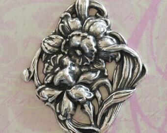 Silver Flower Embellishment 2595