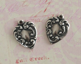 2 Silver Heart Charms 2464