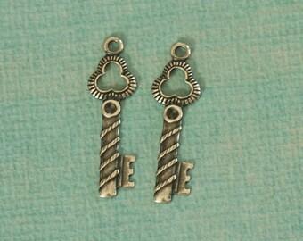 2 Silver Key Charms 2740