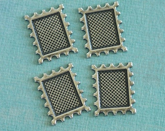 4 Silver Postage Frame Findings 2709