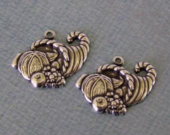 2 Silver Cornucopia Charms 933