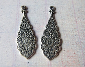 2 Silver Drop Charms 1845S