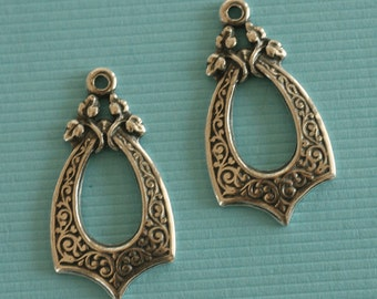 2 Silver Drop Charms 2805