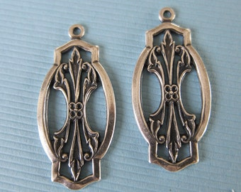 2 Silver Drop Charms 2845