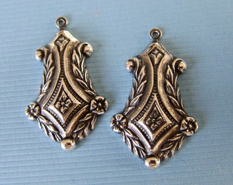 2 Silver Drop Charms 2835