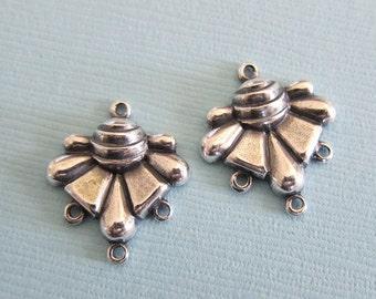 2 Silver Drop Charms 2877